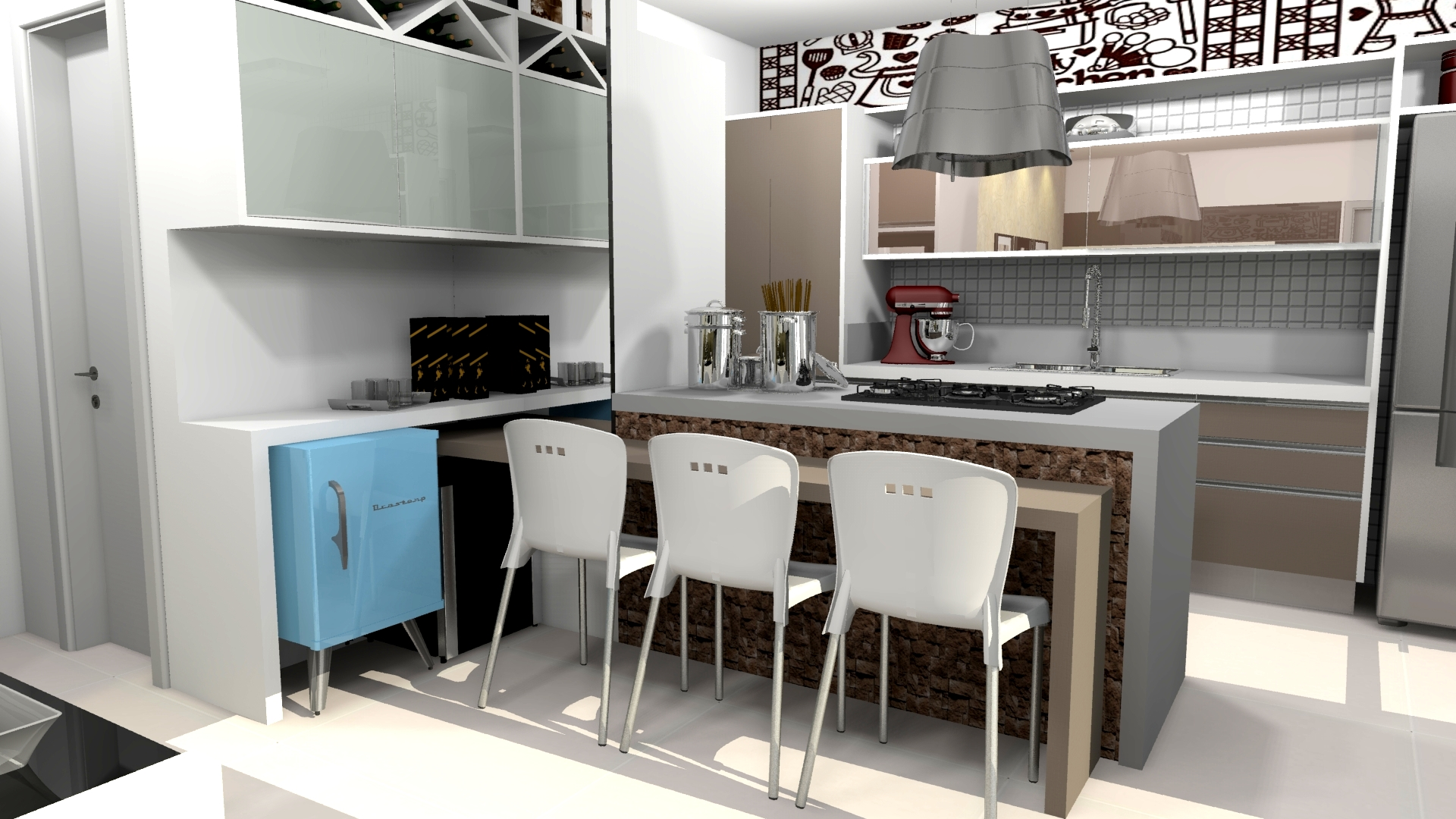 Projeto de Arquitetura de interiores e Design de Apartamento de 100m2  #397492 1920 1080