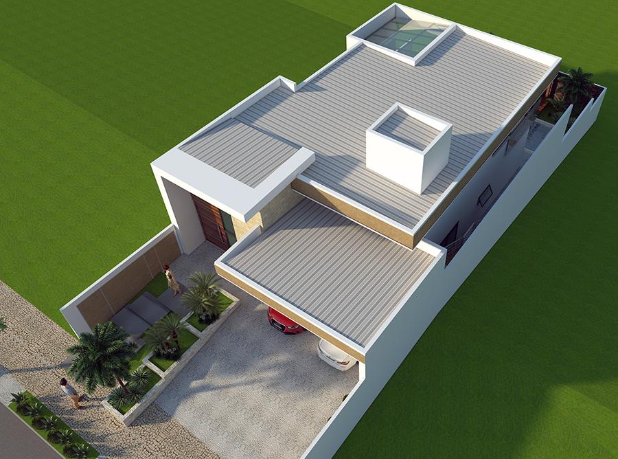 Projeto Arquitetura Moderna Telhado embutido fachada reta térrea mezanino terreno 10x25 condominio limeira fachada reta