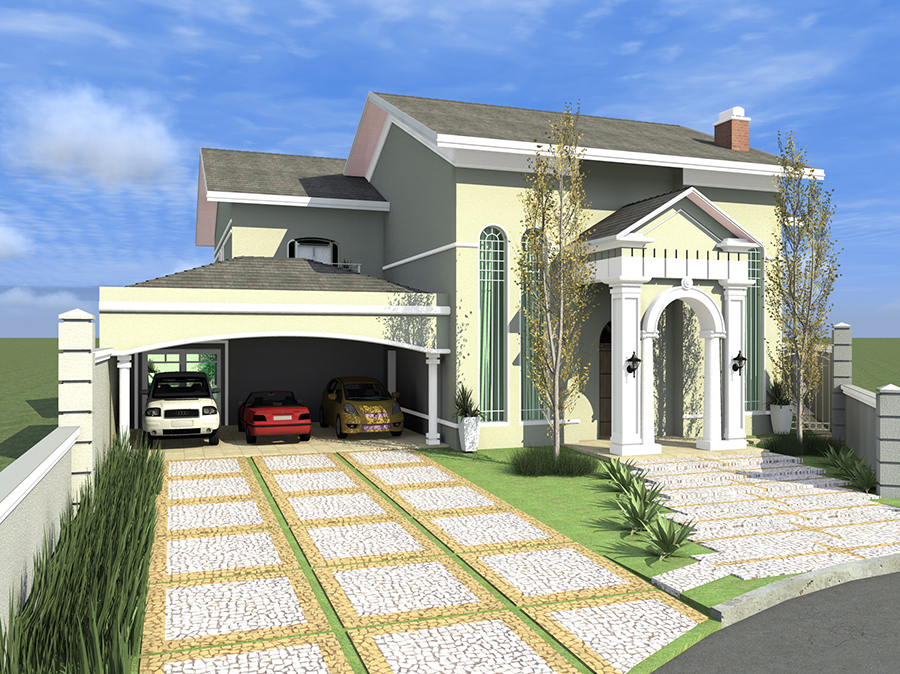 Fachada casa americana arquitetura classica for Casas estilo americano