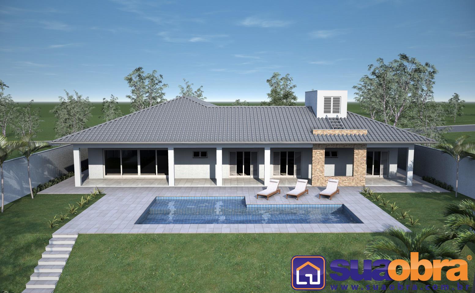 Lista com 07 Projetos de Casas Térreas de Arquitetos e Engenheiros  #386A93 1553 960