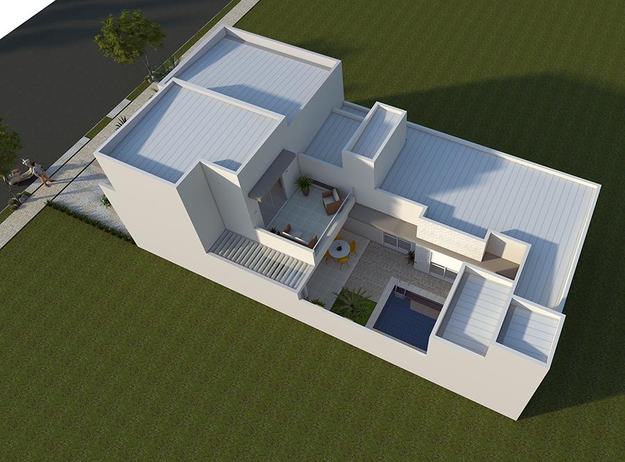 Projeto Arquitetura Moderna Telhado Embutido Fachada Reta