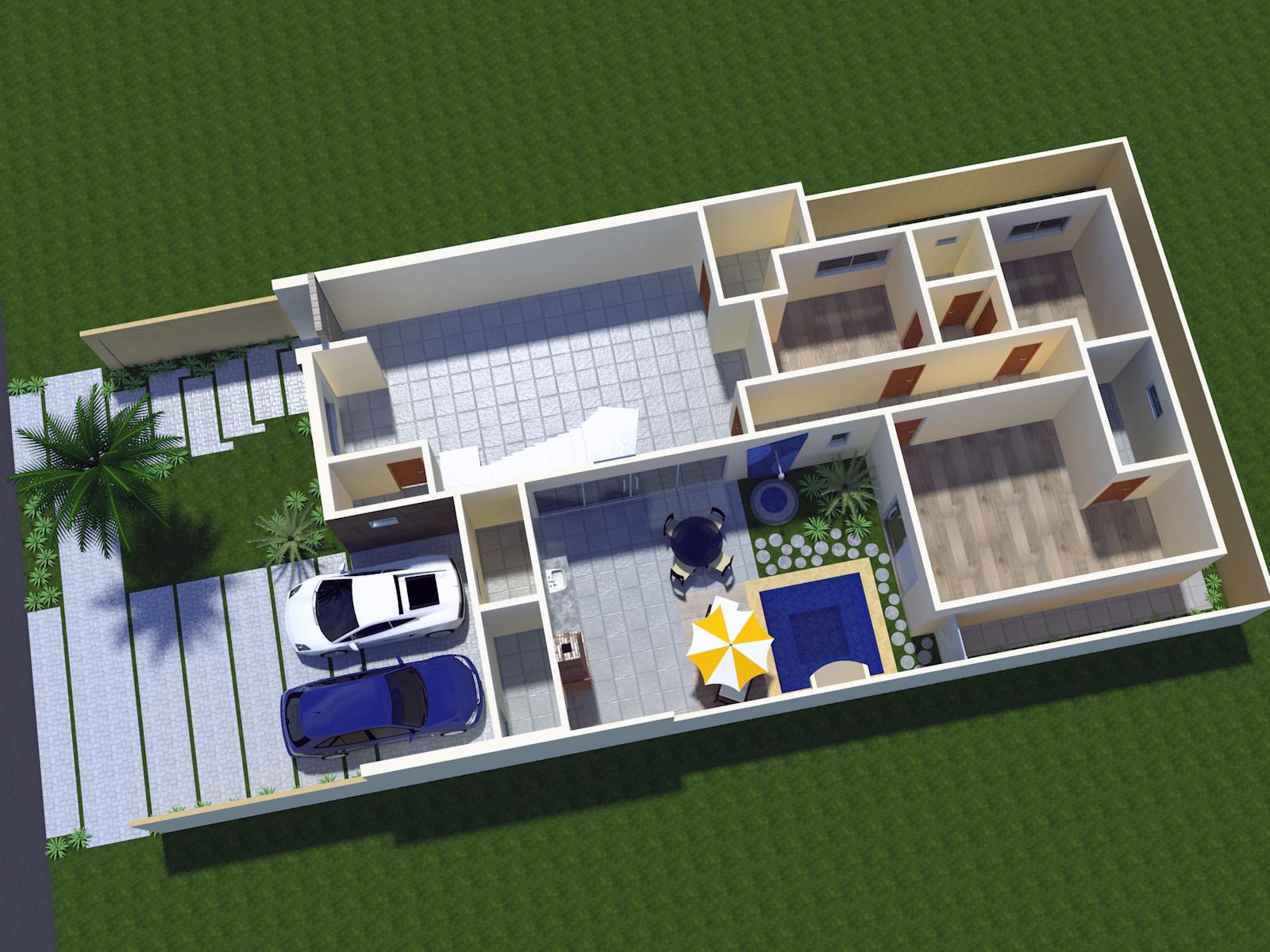 Projeto de resid ncia moderna com mezanino e fachada for Piscina 6 x 3