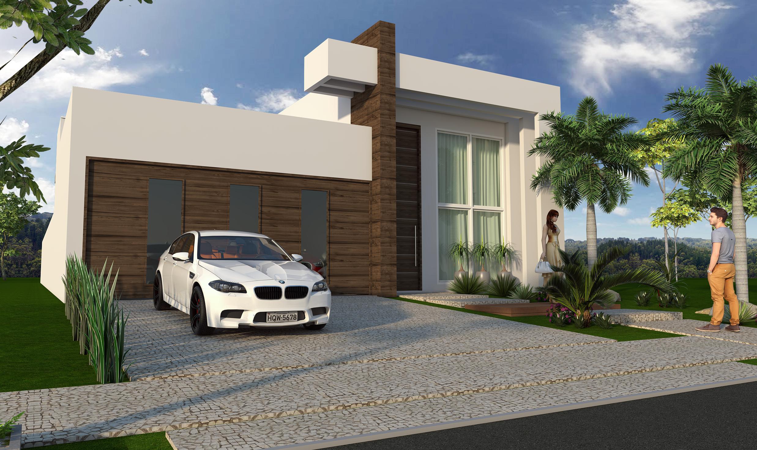 Projeto de arquitetura de casa t rrea com fachada moderna for Casas modernas de 70m2