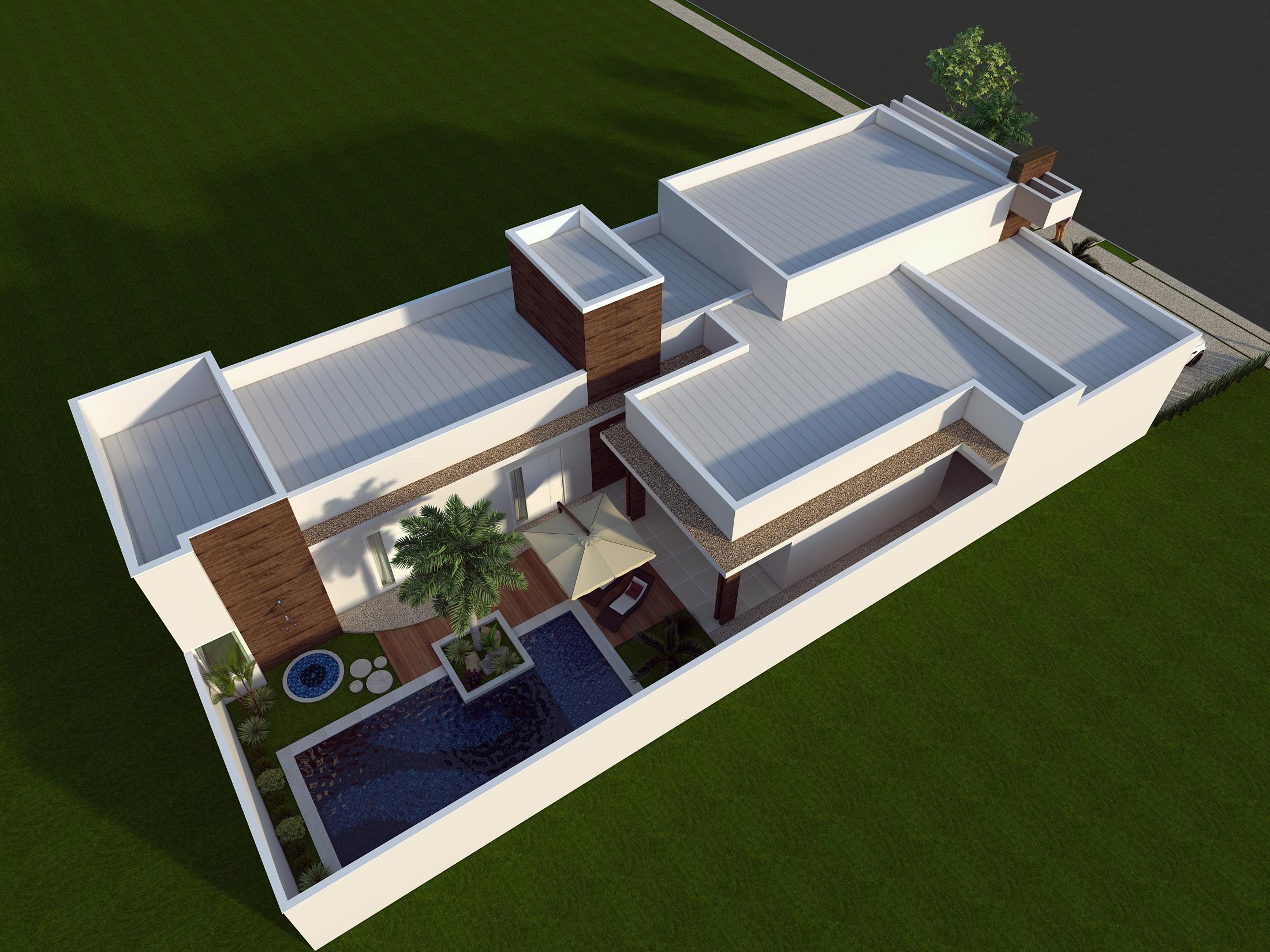 Projeto de arquitetura de casa t rrea com fachada moderna for Casa moderna 200m2