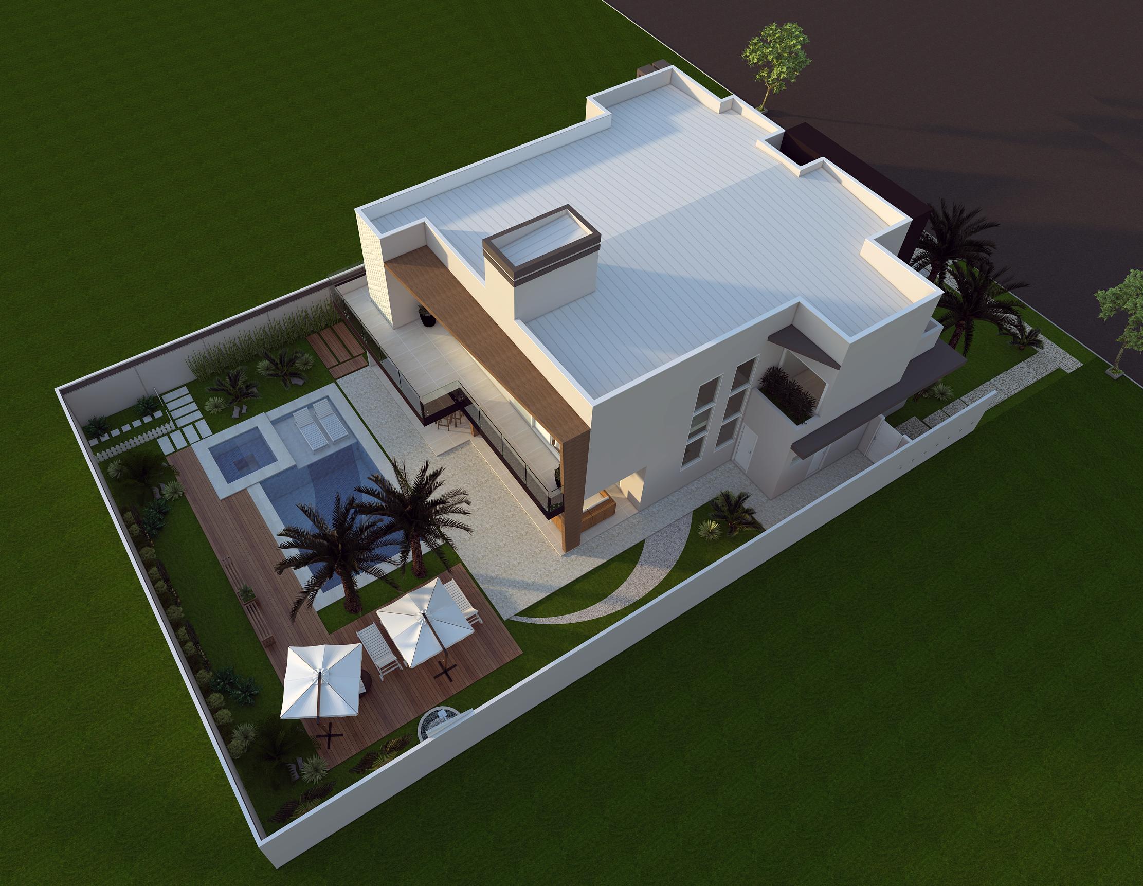 Projeto planta casa sobrado fachada moderna terreno plano for Plantas de casa adentro