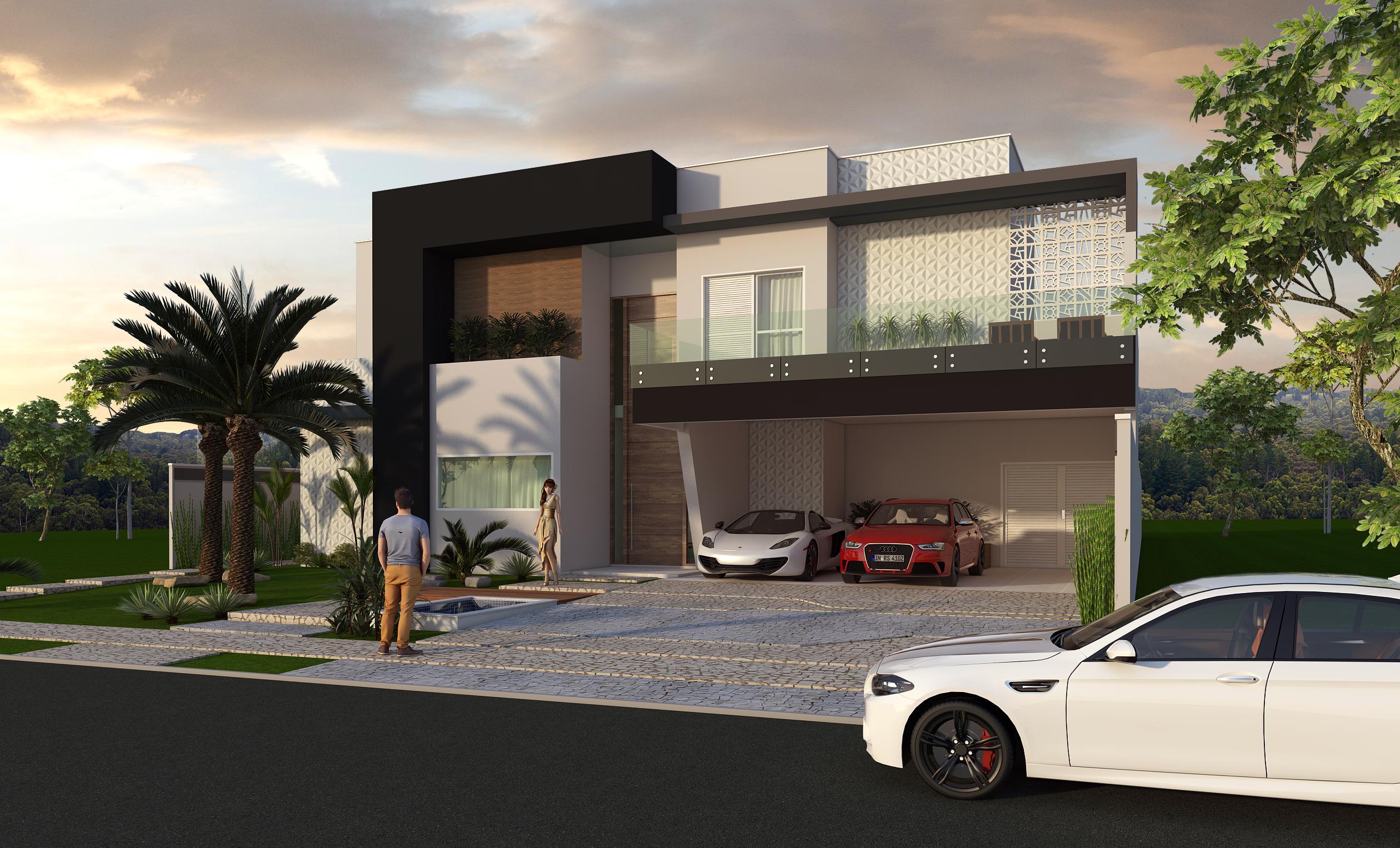 Conhe a esse belo projeto planta casa sobrado fachada for Casa moderna habbo 2017